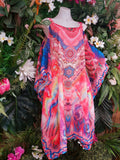 Long Bohemian Relax Fit Cold Shoulder Sheer Embellished Dress One Size 16/18