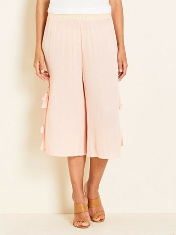 Crossroads Tie Crop Wide Leg Pants With Waist Elastic Band