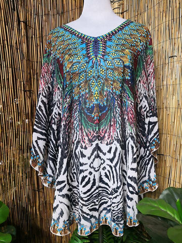 Plus Size Loose Sheer Embellished Short Kaftan Round Hem Print One Size Fits All 14 to 20