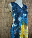 Bohemian Tie Dye & Floral Shirred Bodice Viscose Maxi Dress One Size Fits All 10 to 14