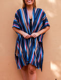 Relax Fit Blue Mix Striped Long Kimono/Cape Jacket Cotton Blend OSFA 14-16-18-20