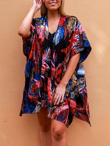 Relax Fit Blue Mix Floral Long Kimono/Cape Jacket Cotton Blend OSFA 14-16-18-20