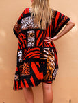 Relaxed Red Mix Animal Print Long Kimono/Cape Jacket Cotton Blend OSFA 14-16-18-20