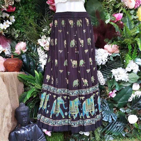 Gypsy Bohemian Black & Multi Maxi Skirt Size 12-14