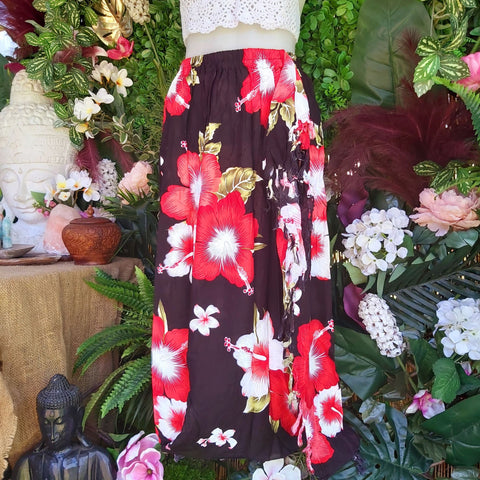 Polynesian Floral Long Red Sarong Maxi Skirt Size 12-14