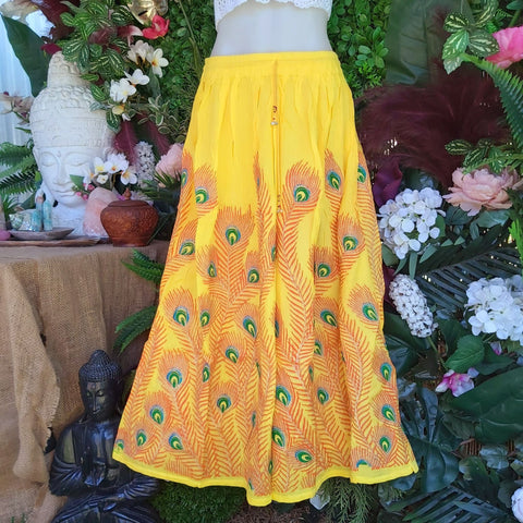 Gypsy Bohemian Peacock Long Yellow Maxi Skirt Size 14/16