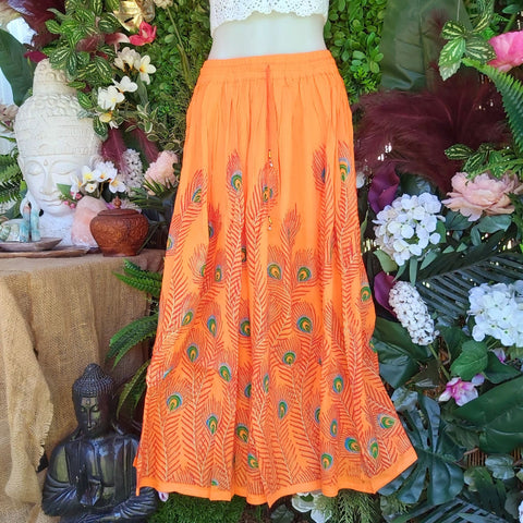 Gypsy Bohemian Peacock Long Orange Maxi Skirt Size 14/16
