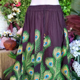 Gypsy Bohemian Peacock Long Black Maxi Skirt Size 14/16