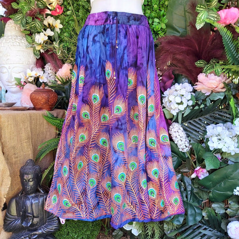 Tie Dye Gypsy Bohemian Purple & Blue Maxi Skirt Size 14/16