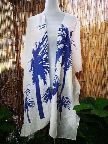 Loose Fitting Blue & White Polynesian Kimono Jacket One Size Fits All 14 to 20