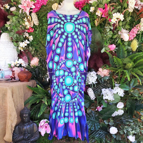 Plus Size Cotton Blue Bohemian Long Maxi Kaftan Size 16 to 22