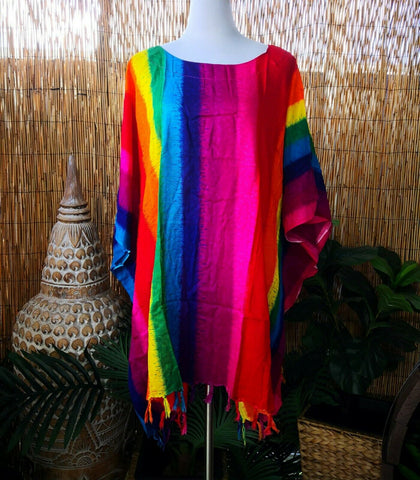 Plus Size Tie Dye Rainbow Tunic/Top With Tassels One Size Fits All 20 to 26