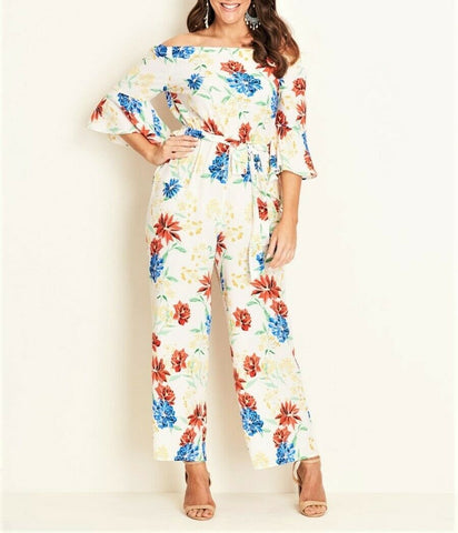 Crossroads Flora Bell Sleeve Off The Shoulders Jumpsuit With Drawstring Waist