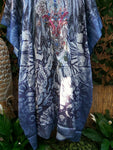 Embellished Satin Like Mid Calf Paisley Animal Print Kaftan One Size Fits All 14 to 20