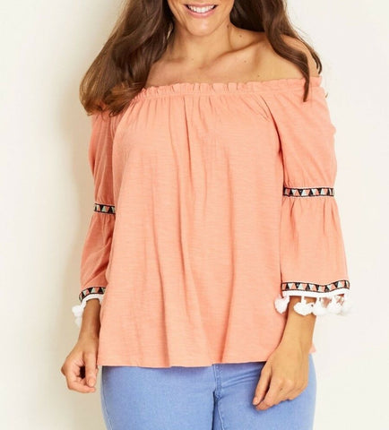 Crossroads Cotton Coral Tassel Off The Shoulders Bohemian Top
