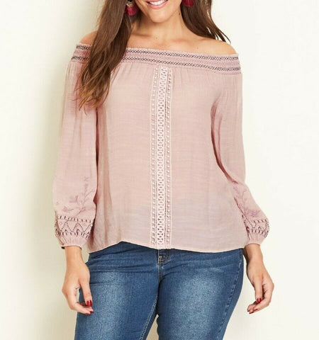 Crossroads Thin Blush Pink Off The Shoulder Long Sleeve Embroidered Top