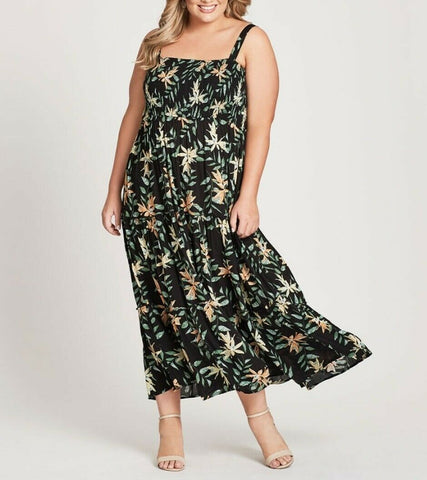 Autograph Shirred Black Palm Print Long Maxi Dress With Adjustable Straps