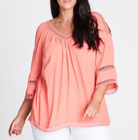 Plus Size Autograph Relax Fitting-V Neck Crochet Lace Insert Coral Top