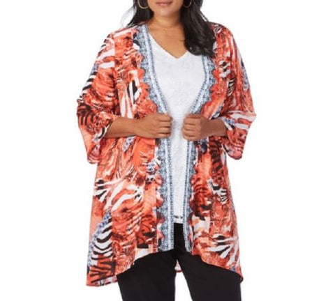Plus Size Loose Fitting Beme Embellished 3/4 Sleeve Kimono Jacket