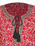 Crossroads Embellished Peasant Tassel Red Floral Tunic/Top