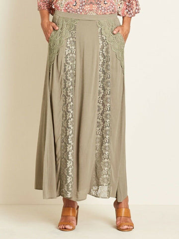 Crossroads Army Green Bohemian Lace Panel Maxi Skirt