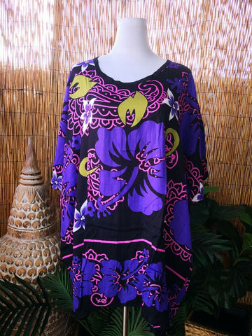 Plus Size Polynesian Floral Purple & Black Tunic/Top One Size Fits All 18 to 22