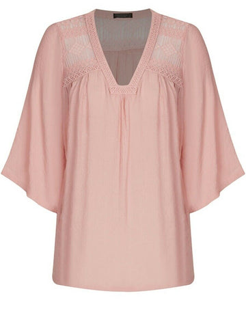 Crossroads Blush Pink Lace Insert Short Sleeve Embroidered Detail Top