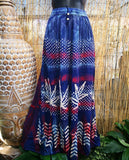 Gypsy Bohemian Maxi Skirt With Elastic Waist One Size Fits All 10 to 16