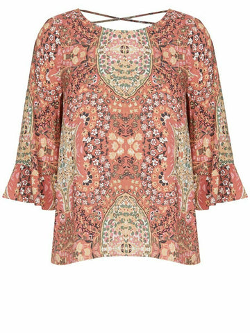 Crossroads Cross Back Bohemian Floral Elbow Length Flute Sleeve Top