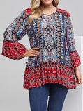 Bohemian Ethnic Blue/Red 3/4 Bell Sleeve Tunic/Top 100% Viscose