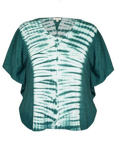 Oversized Tie Dye Green Top With Batwing Sleeves