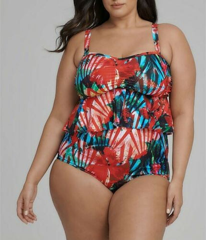 Plus Size Taking Shape Colourful Bikini Top With Removable Straps