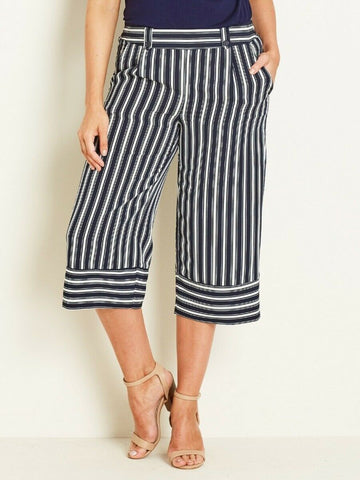 Crossroads Wide Stripe Culotte/Pants With Elastic Waist At Back Size 16
