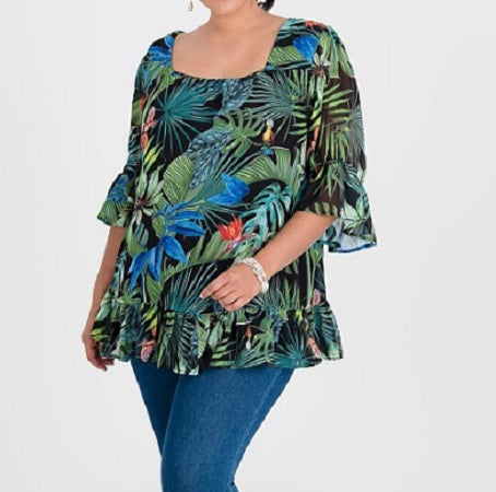Plus Sizes Tropical Print & Frilled Sleeve Tunic/Top Fully Lined