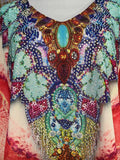 Plus Size Loose Sheer Embellished Kaftan Round Hem Print One Size Fits All 14 to 20