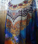 Plus Size Long Sheer Thin Embellished Kaftan Digital Printed One Size Fits All 16 to 22