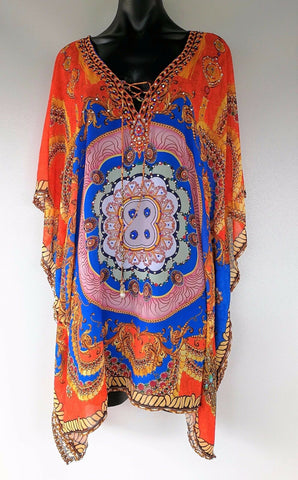 Plus Size Relax Fitting Sheer Embellished Kaftan/Cover Up One Size Fits All 14 to 22