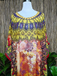 Plus Size Long Sheer Embellished Kaftan Digital Printed One Size Fits All 16 to 24
