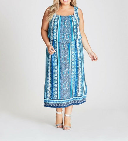 Plus Size Autograph Blue Border Printed Jersey Flounce Paisley Maxi Dress