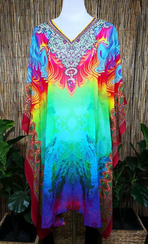 Plus Size Sheer Chiffon Embellished Kaftan Digital Printed One Size Fits All 16 to 24