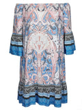 Crossroads Off The Shoulders Paisley Print Blue Mix Dress