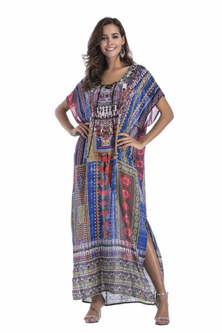 Plus Size Maxi Dress Long Animal Print Sheer Embellished Kaftan One Size Fits All 16 to 22