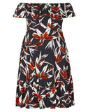 Autograph Plus Fully Line Off The Shoulder Exotic Floral Lovely Dress Size 16