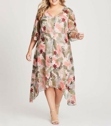 Autograph Floral Button Front Double Layer Hanky Hem Maxi Dress Size 16