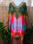 Loose Fitting Sheer Embellished Kaftan Round Hem Print One Size Fits All 12 to 18