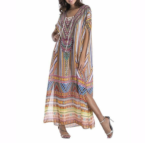 Plus Size Maxi Dress Long Ethnic Print Sheer Embellished Kaftan One Size Fits All 16 to 22
