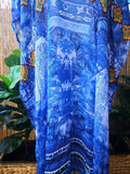 Plus Size Long Sheer Thin Embellished Kaftan Digital Printed One Size Fits All 16 to 20