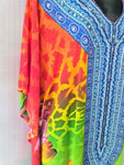 Bright Long Sheer Embellished Kaftan Tunic Digital Printed One Size Fits All 16 to 24