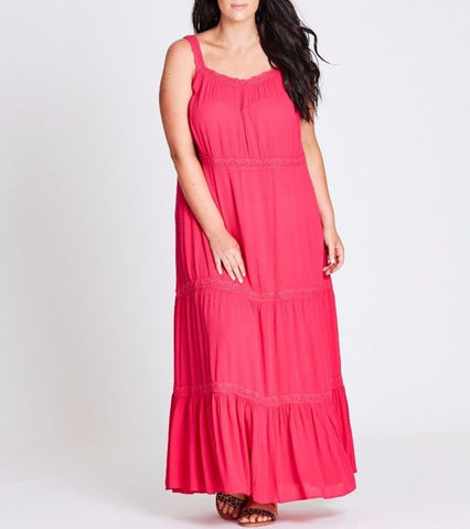 Plus Size Autograph Pink Cheesecloth Viscose Maxi Dress