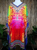 Plus Size Sheer Chiffon Embellished Kaftan Digital Printed One Size Fits All 18 to 26